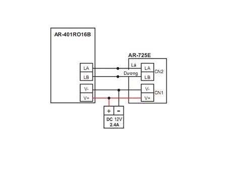 Sơ đồ kết nối AR-725E với bộ phân tầng thang máy AR-401RO16B