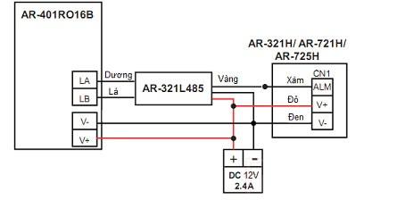 Sơ đồ kết nối đầu đọc AR321 với bộ điều khiển phân tầng thang máy AR-401RO16B